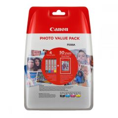 Ink Canon Value Pack CLI-571VP Black, Cyan, Magenta, Yellow  and 50 Sheets 10x15 cm Photo Paper