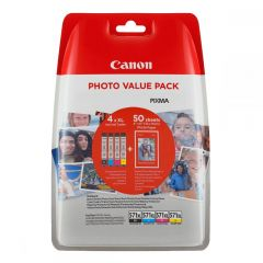 Ink Canon High Yield Value Pack CLI-571XLVP Black, Cyan, Magenta, Yellow  and 50 Sheets 10x15 cm Photo Paper