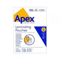 Fellowes Δίφυλλα Πλαστικοποίησης APEX LIGHT DUTY A3 80 mic 100 τεμ 6001901