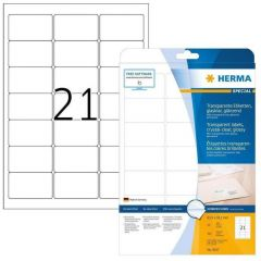 Labels Herma Laser Transparent Crystal Clear 63.5mm x 38.1mm - 225Τ 25 Shts